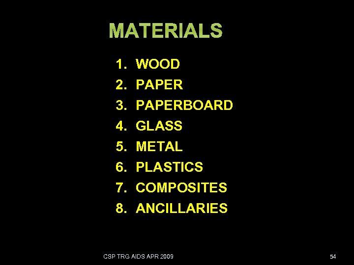 1. 2. 3. 4. 5. 6. 7. 8. WOOD PAPERBOARD GLASS METAL PLASTICS COMPOSITES