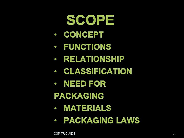 SCOPE • CONCEPT • FUNCTIONS • RELATIONSHIP • CLASSIFICATION • NEED FOR PACKAGING •