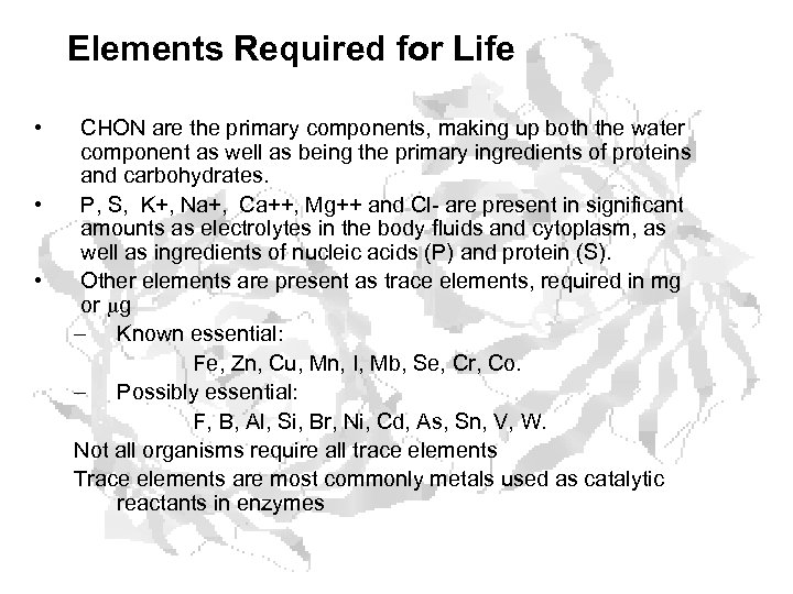 Elements Required for Life • • • CHON are the primary components, making up