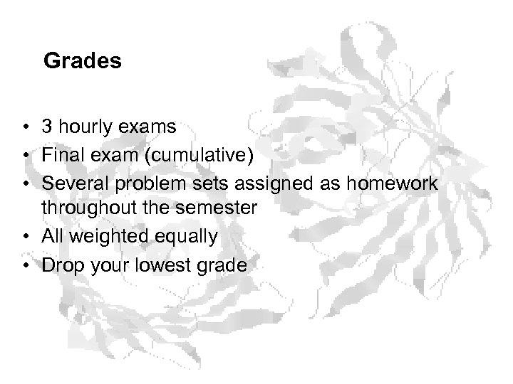 Grades • 3 hourly exams • Final exam (cumulative) • Several problem sets assigned