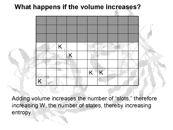 What happens if the volume increases? K K K Adding volume increases the number