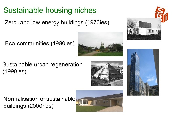 Sustainable housing niches Zero and low energy buildings (1970 ies) Eco communities (1980 ies)