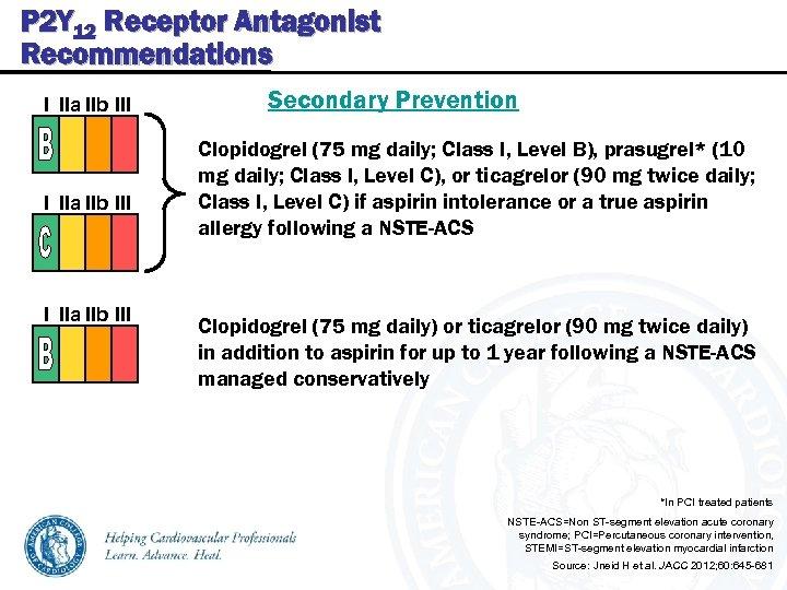 P 2 Y 12 Receptor Antagonist Recommendations I IIa IIb III Secondary Prevention Clopidogrel