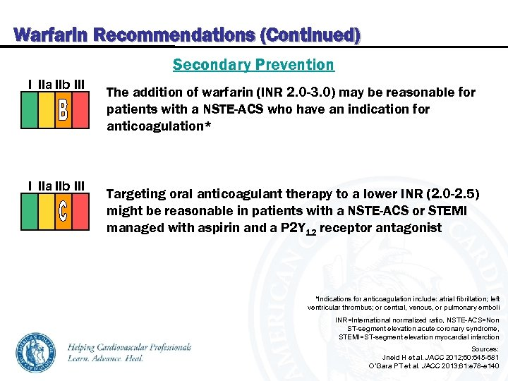 Warfarin Recommendations (Continued) Secondary Prevention I IIa IIb III The addition of warfarin (INR