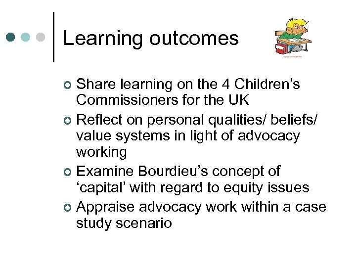 Learning outcomes Share learning on the 4 Children's Commissioners for the UK ¢ Reflect