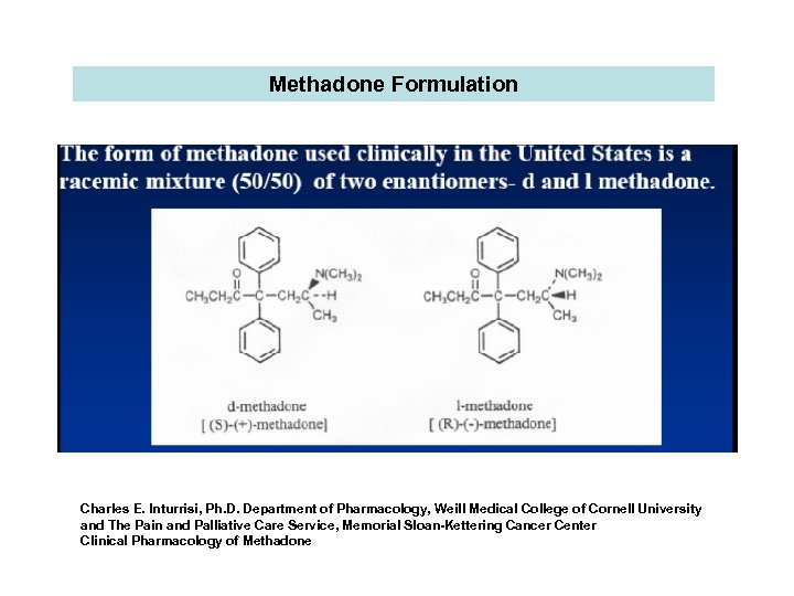 Methadone Formulation Charles E. Inturrisi, Ph. D. Department of Pharmacology, Weill Medical College of