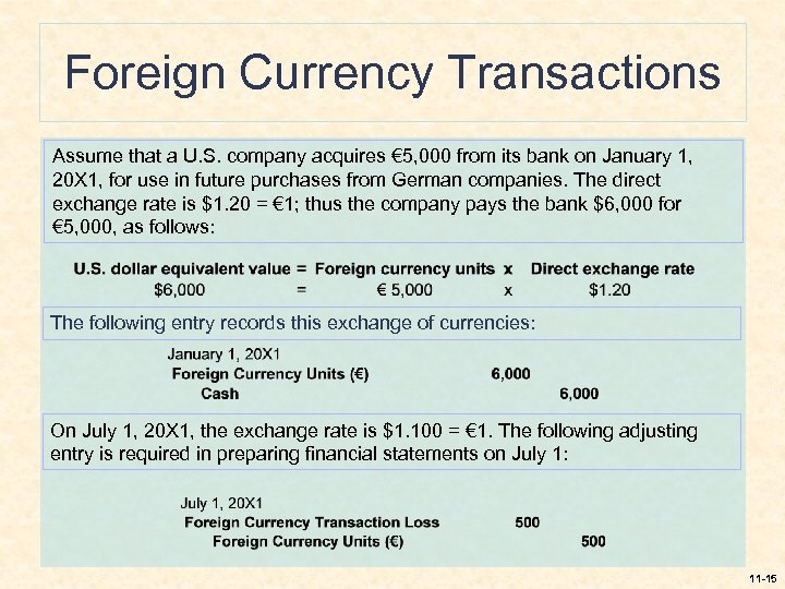 Foreign Currency Transactions Assume that a U. S. company acquires € 5, 000 from