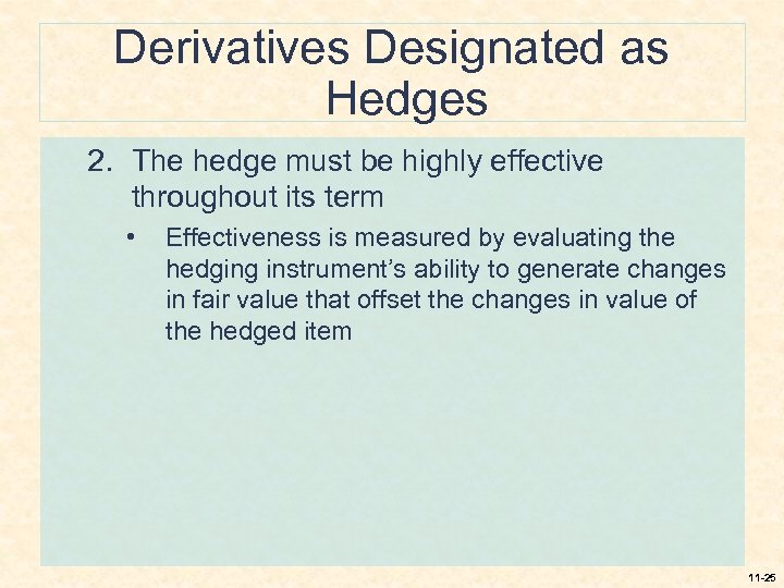 Derivatives Designated as Hedges 2. The hedge must be highly effective throughout its term