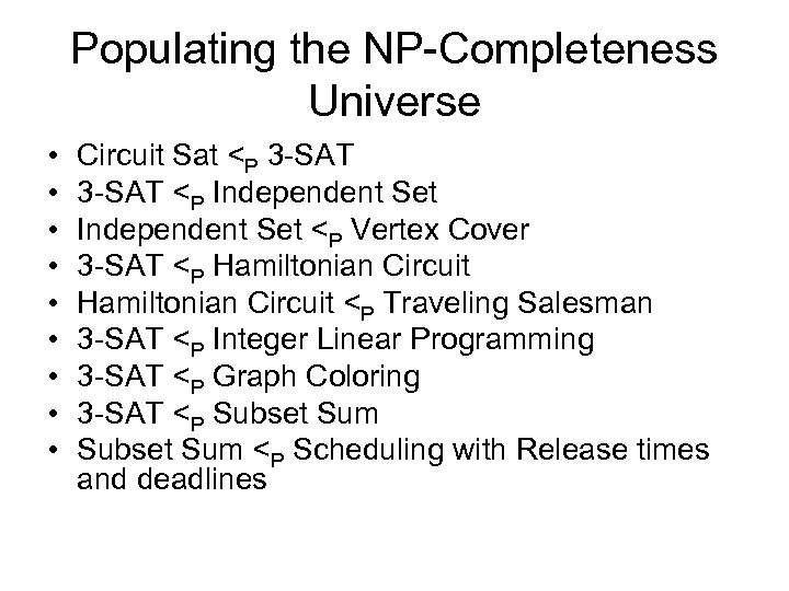 Populating the NP-Completeness Universe • • • Circuit Sat <P 3 -SAT <P Independent