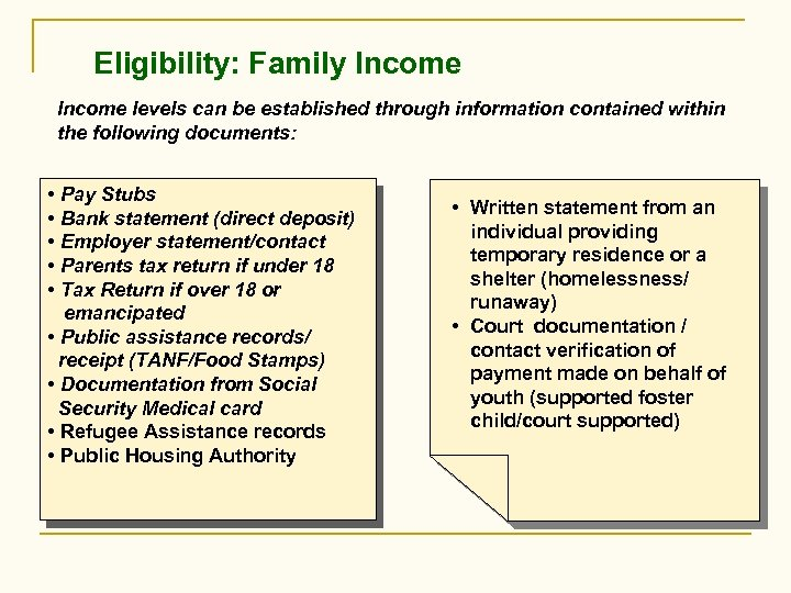 Eligibility: Family Income levels can be established through information contained within the following documents: