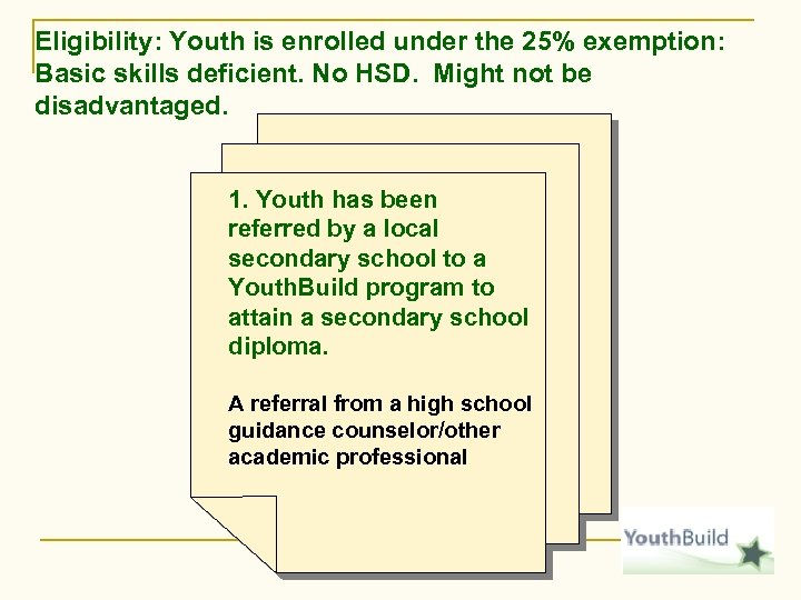 Eligibility: Youth is enrolled under the 25% exemption: Basic skills deficient. No HSD. Might
