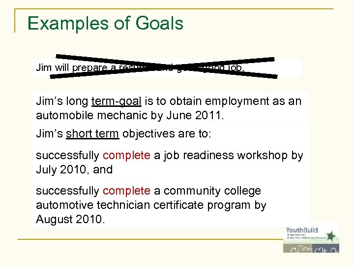 Examples of Goals Jim will prepare a resume and get a good job. Jim's