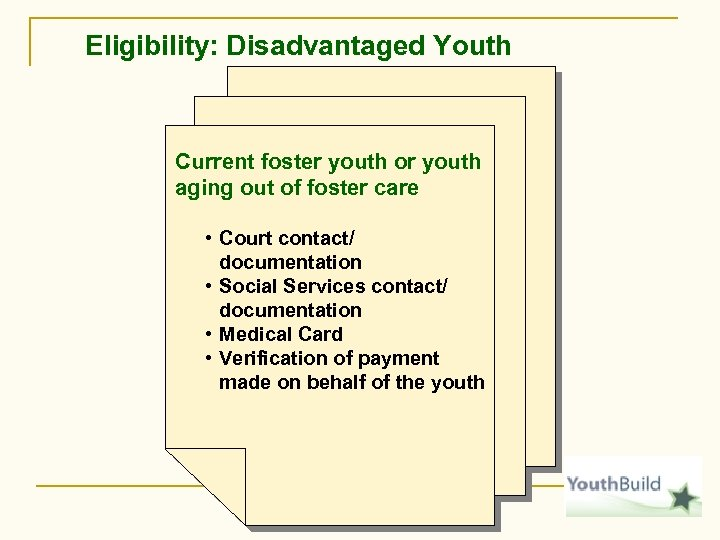 Eligibility: Disadvantaged Youth Current foster youth or youth aging out of foster care •