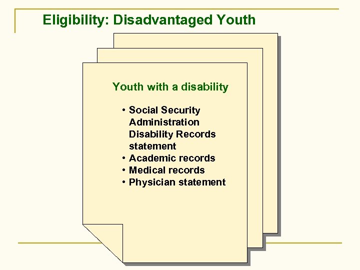 Eligibility: Disadvantaged Youth with a disability • Social Security Administration Disability Records statement •