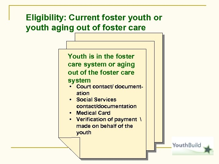 Eligibility: Current foster youth or youth aging out of foster care Youth is in