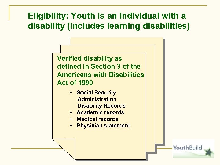 Eligibility: Youth is an individual with a disability (includes learning disabilities) Verified disability as