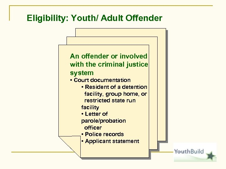 Eligibility: Youth/ Adult Offender An offender or involved with the criminal justice system •
