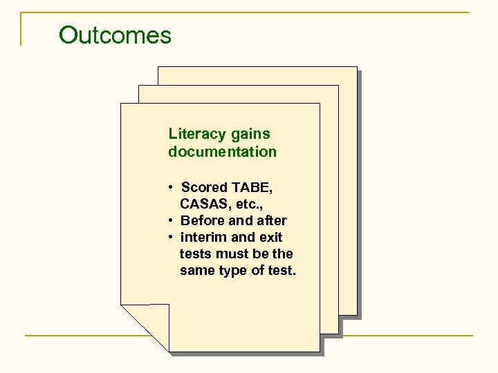 Outcomes Literacy gains documentation • Scored TABE, CASAS, etc. , • Before and after