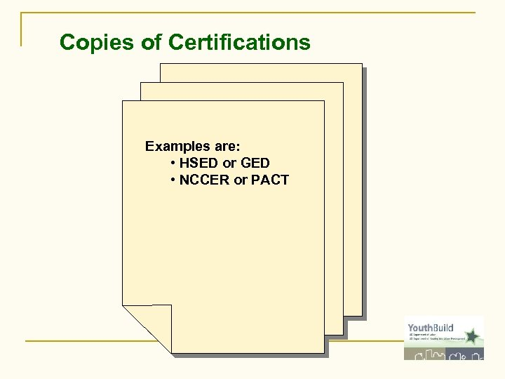Copies of Certifications Examples are: • HSED or GED • NCCER or PACT