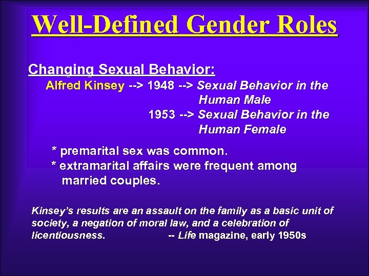 Well-Defined Gender Roles Changing Sexual Behavior: Alfred Kinsey --> 1948 --> Sexual Behavior in
