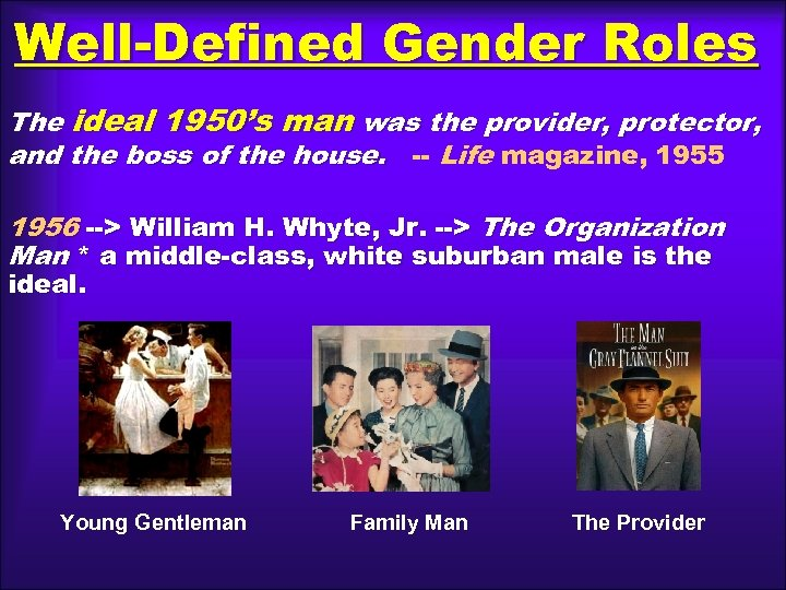 Well-Defined Gender Roles The ideal 1950's man was the provider, protector, and the boss