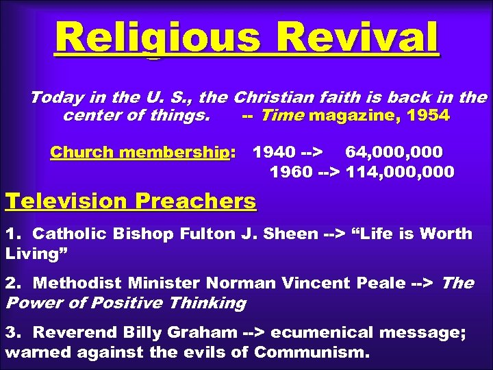 Religious Revival Today in the U. S. , the Christian faith is back in