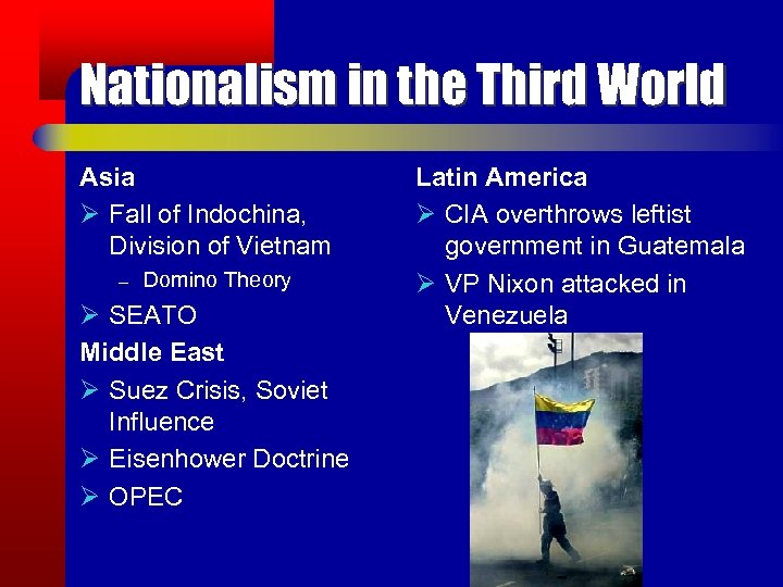 Nationalism in the Third World Asia Ø Fall of Indochina, Division of Vietnam –
