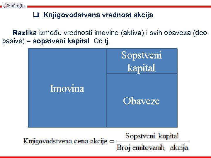 q Knjigovodstvena vrednost akcija Razlika između vrednosti imovine (aktiva) i svih obaveza (deo pasive)
