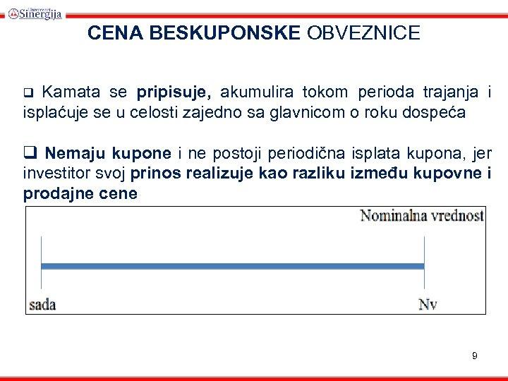 CENA BESKUPONSKE OBVEZNICE Kamata se pripisuje, akumulira tokom perioda trajanja i isplaćuje se u