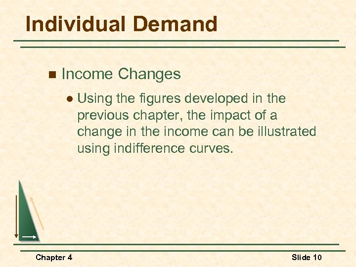 Individual Demand n Income Changes l Chapter 4 Using the figures developed in the