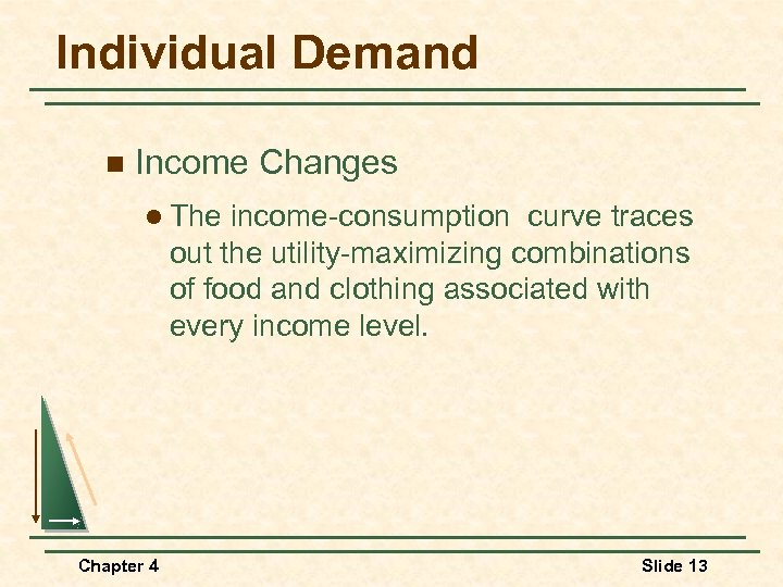 Individual Demand n Income Changes l The income-consumption curve traces out the utility-maximizing combinations