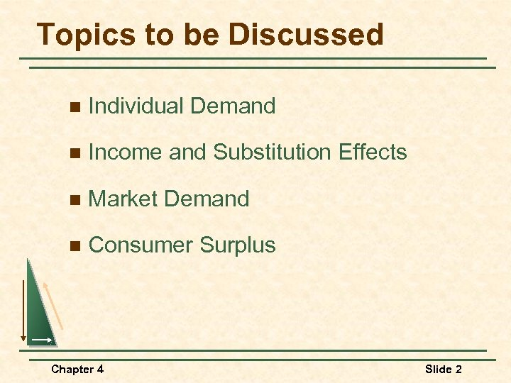 Topics to be Discussed n Individual Demand n Income and Substitution Effects n Market