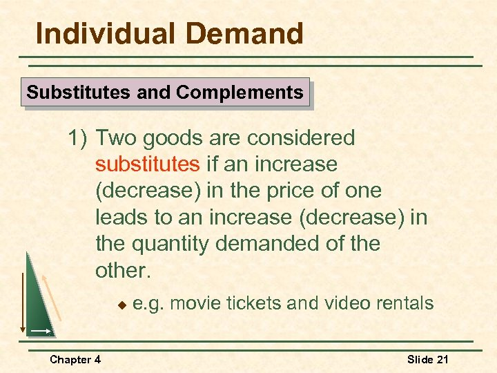 Individual Demand Substitutes and Complements 1) Two goods are considered substitutes if an increase