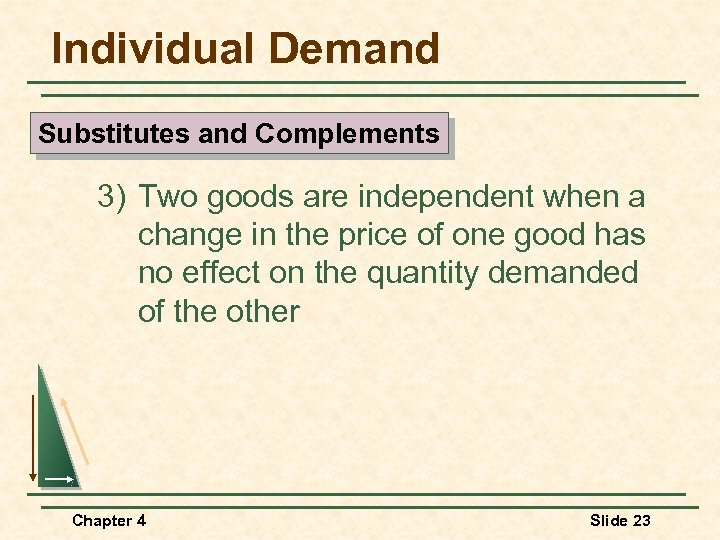 Individual Demand Substitutes and Complements 3) Two goods are independent when a change in