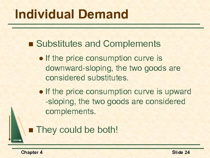Individual Demand n Substitutes and Complements l l n If the price consumption curve