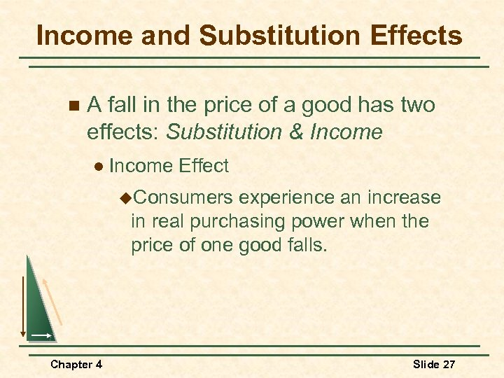 Income and Substitution Effects n A fall in the price of a good has