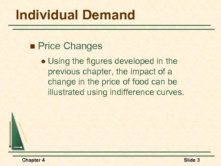 Individual Demand n Price Changes l Chapter 4 Using the figures developed in the