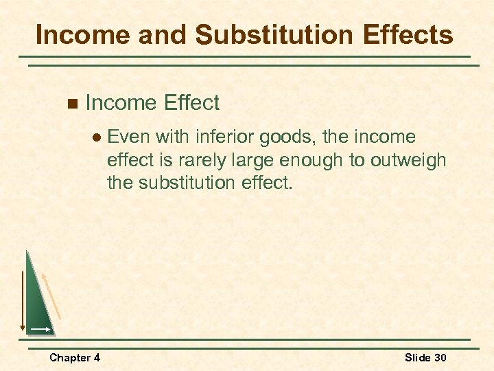 Income and Substitution Effects n Income Effect l Even with inferior goods, the income