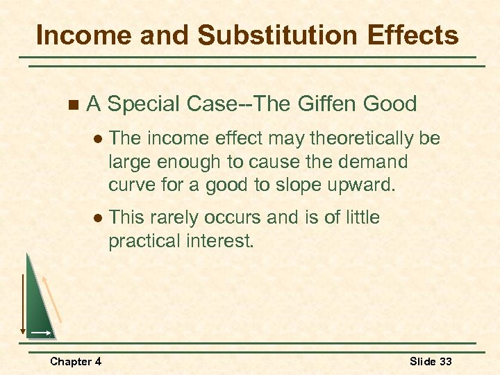 Income and Substitution Effects n A Special Case--The Giffen Good l The income effect