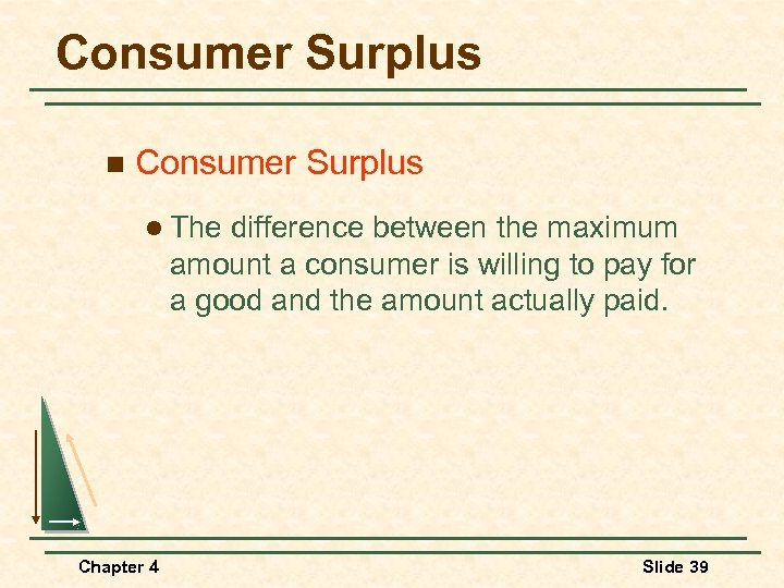 Consumer Surplus n Consumer Surplus l The difference between the maximum amount a consumer