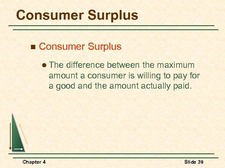 Consumer Surplus n Consumer Surplus l The difference between the maximum amount a consumer