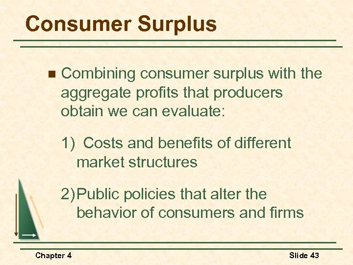 Consumer Surplus n Combining consumer surplus with the aggregate profits that producers obtain we