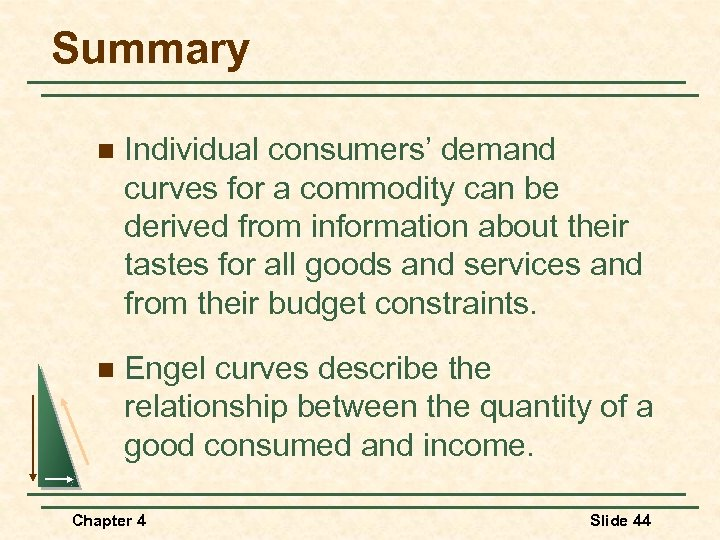 Summary n Individual consumers' demand curves for a commodity can be derived from information