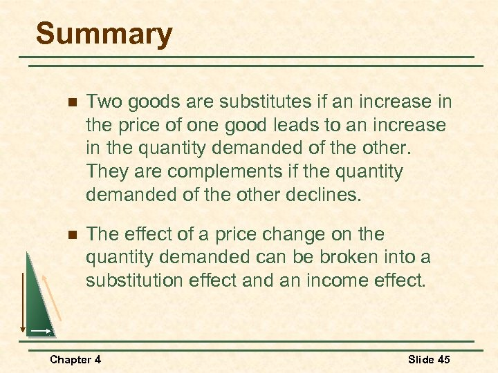 Summary n Two goods are substitutes if an increase in the price of one