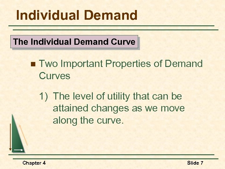 Individual Demand The Individual Demand Curve n Two Important Properties of Demand Curves 1)