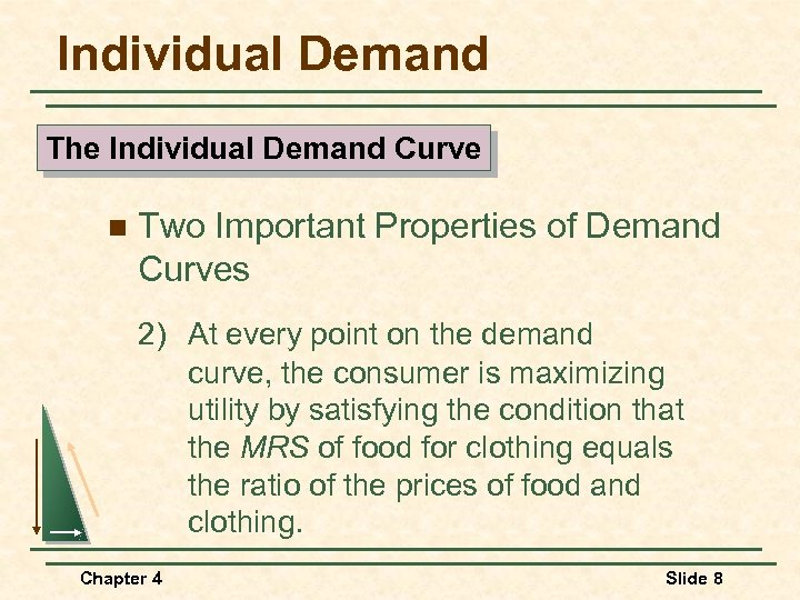 Individual Demand The Individual Demand Curve n Two Important Properties of Demand Curves 2)