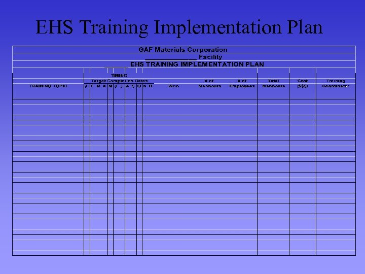 EHS Training Implementation Plan