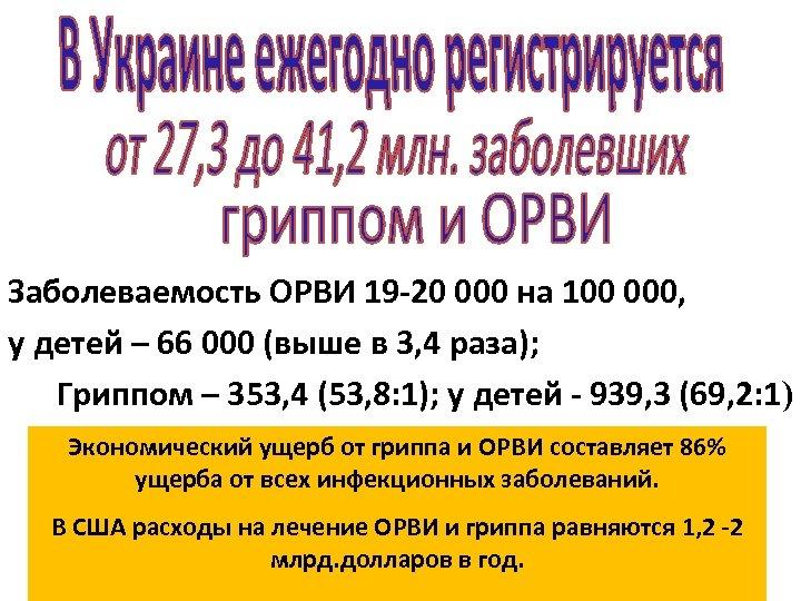 Заболеваемость ОРВИ 19 -20 000 на 100 000, у детей – 66 000 (выше