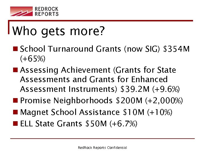 Who gets more? n School Turnaround Grants (now SIG) $354 M (+65%) n Assessing