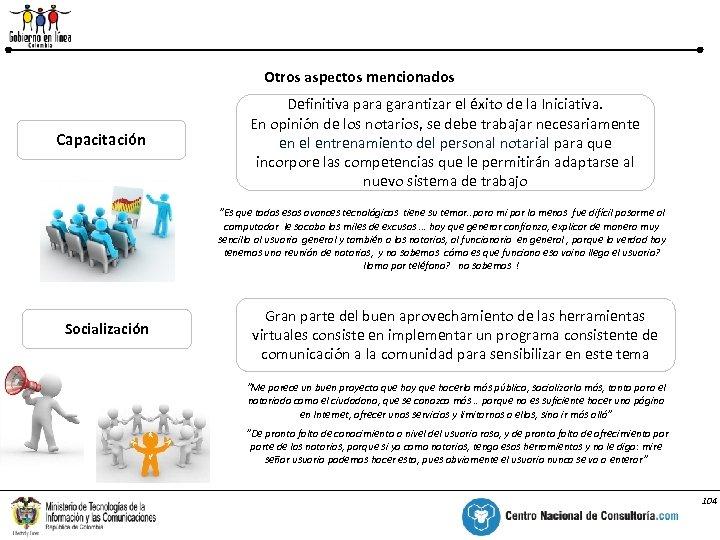 Aspectos relevantes para la Implementación de la Iniciativa Otros aspectos mencionados % Capacitación Definitiva